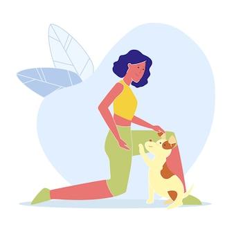 Mulher, tocando, com, cão, vetorial plana, ilustração