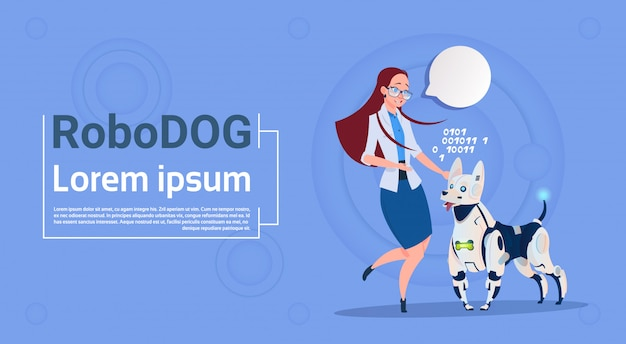 Mulher, tocando, com, robotic, cão, cute, animal doméstico, modernos, robô, animal estimação, artificial, inteligência, tecnologia