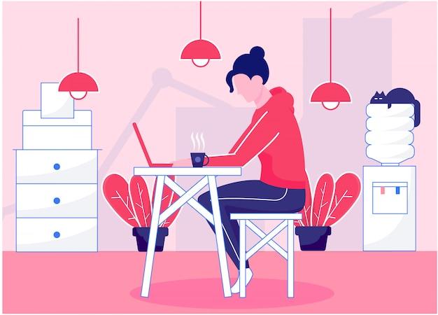 Mulher tocando um laptop em casa