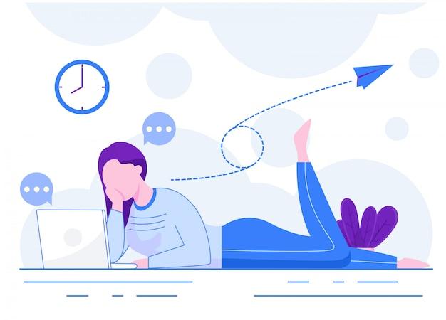Mulher tocando uma ilustração de laptop