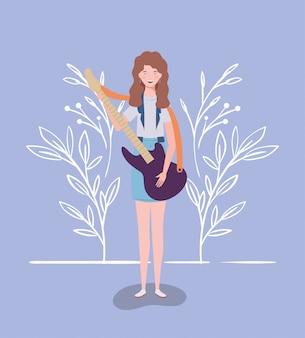 Mulher, tocando, violão elétrico, instrumento, personagem