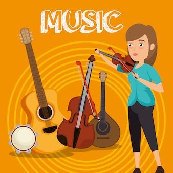 Mulher tocando violino personagem