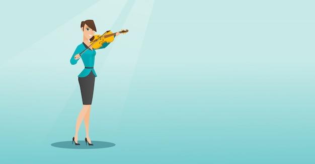 Mulher, tocando, violino