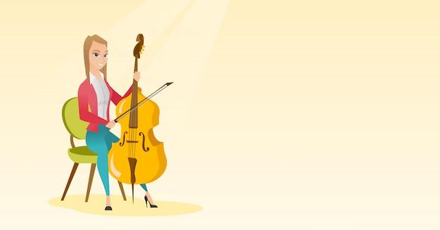Mulher, tocando, violoncelo