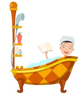 Mulher tomando banho na banheira. ilustração