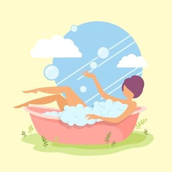 Mulher tomando banho na banheira, menina de pele branca em ilustração vetorial de desenhos animados de banheiro.