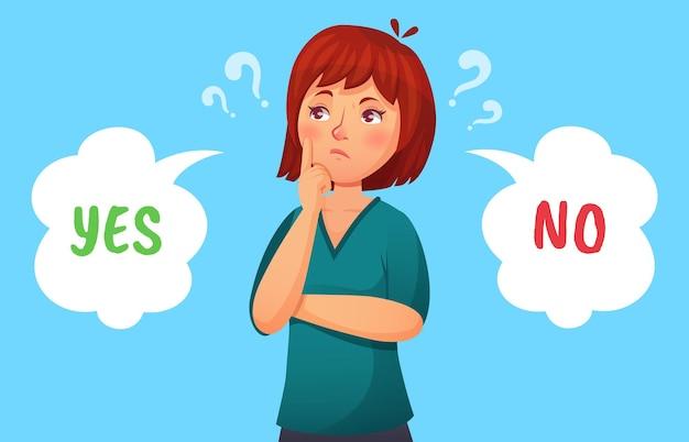 Mulher tomando decisão. ilustração feminina pensativa, menina ponderando, tomada de decisão, vetor sim ou não