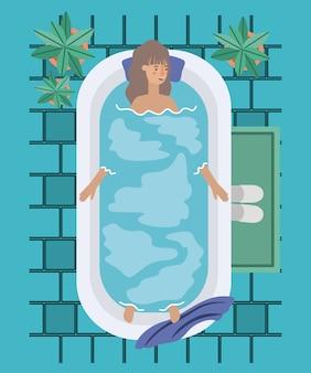 Mulher tomando uma banheira design ilustração vetorial