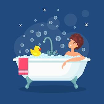 Mulher tomar banho.