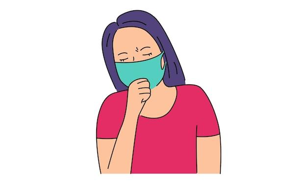 Mulher tossindo com máscara