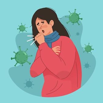 Mulher tossindo e dificuldade em respirar. pessoas com sintomas de coronavírus