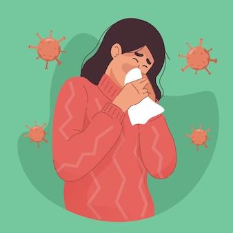 Mulher tossindo e tendo um resfriado