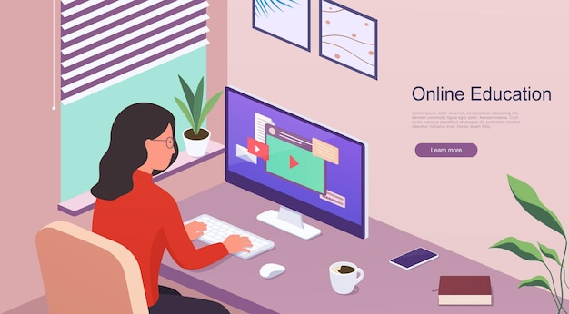 Mulher trabalha em casa enquanto está sentado à mesa com um computador. e-learning online e trabalho por meio de treinamento em webinar. conceito de educação a distância em casa.
