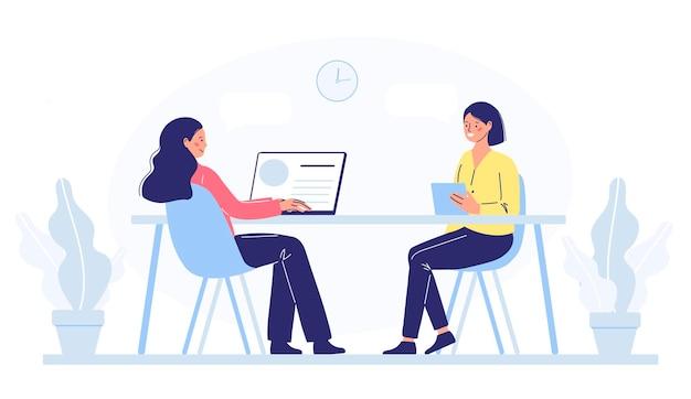 Mulher trabalhadora de escritório, contrata uma garota. o conceito de escolher um funcionário ou equipe, recrutar ou contratar funcionários.