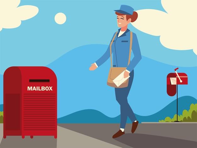 Mulher trabalhadora do serviço postal com envelope e caixa de correio na rua