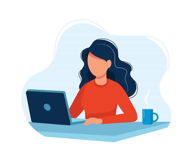 Mulher, trabalhando, com, computador