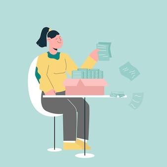 Mulher trabalhando com conceito de documento