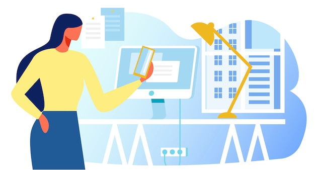 Mulher, trabalhando, com, dispositivos, em, escritório, apartamento, caricatura