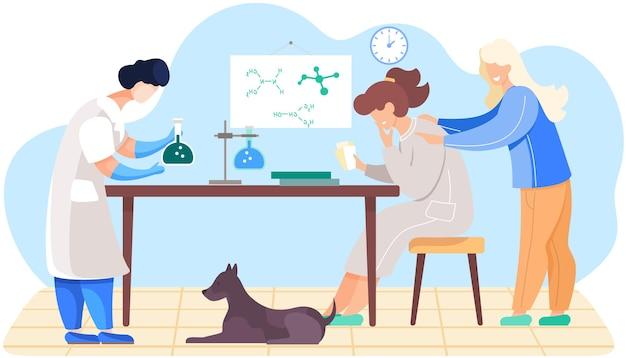 Mulher trabalhando com frasco com substância desconhecida