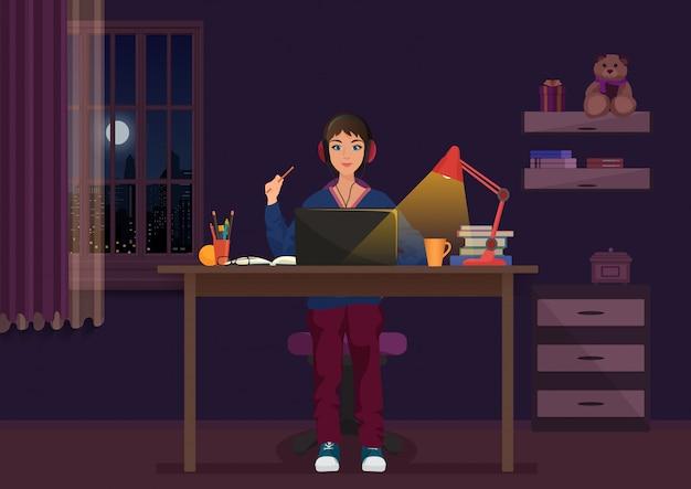 Mulher, trabalhando, com, laptop, à noite