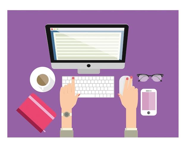 Mulher, trabalhando, digitando, computador