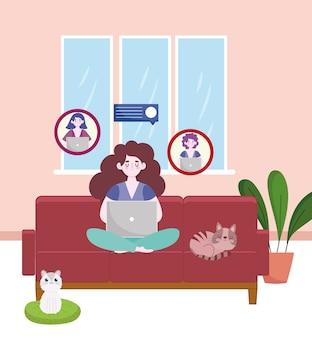 Mulher trabalhando e conversando com colegas, laptop, sofá, escritório doméstico, ilustração