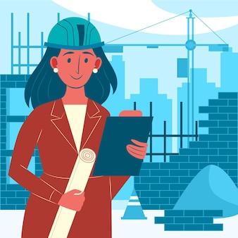 Mulher trabalhando em construção