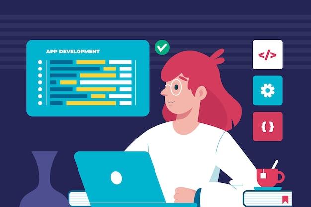 Mulher trabalhando em um novo aplicativo