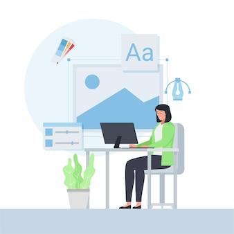 Mulher trabalhando na mesa com um ícone de design ao redor