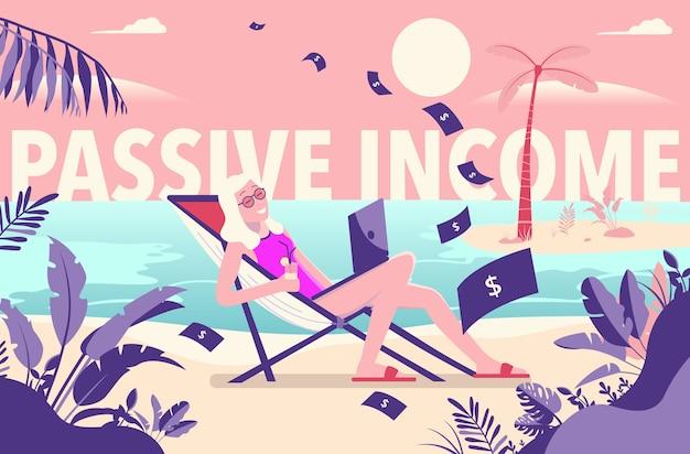 Mulher trabalhando na praia ganhando dinheiro com renda passiva