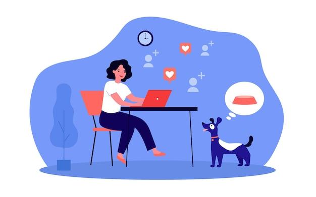 Mulher trabalhando no computador enquanto o cachorro está com fome. ilustração em vetor plana. menina apaixonada por comunicação nas redes sociais, cachorro faminto pensando em comida. carinho, animal de estimação, comida, conceito de internet