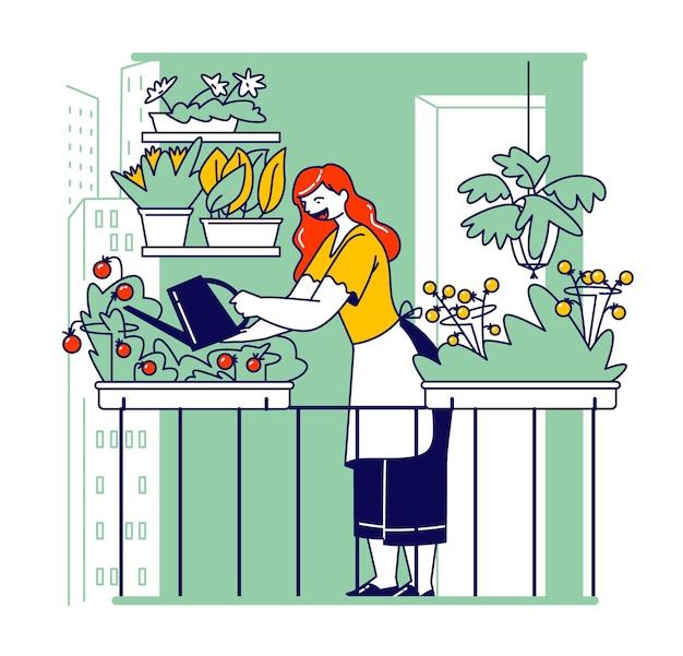 Mulher trabalhando no jardim da varanda, cuidando das plantas e regando hortaliças e vegetais em potes