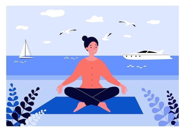 Mulher tranquila fazendo ioga na praia. meditação, mar, beira-mar, pose de lótus. ilustração vetorial plana
