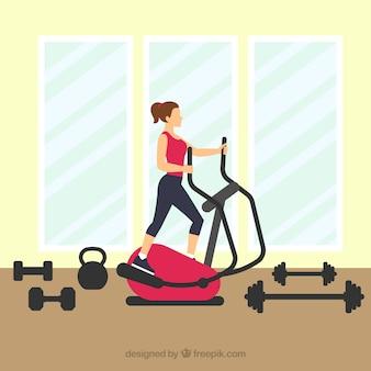 Mulher, treinamento, ginásio, centro