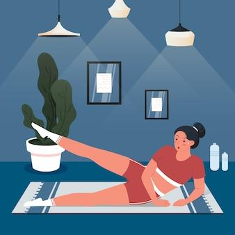 Mulher treinando em casa conceito