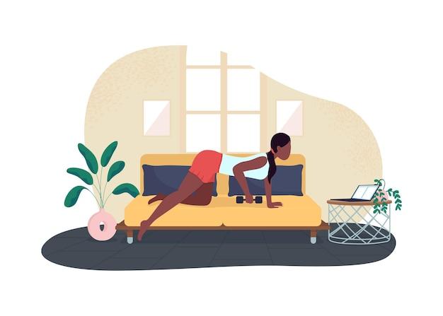 Mulher treinando enquanto trabalhava ilustração 2d
