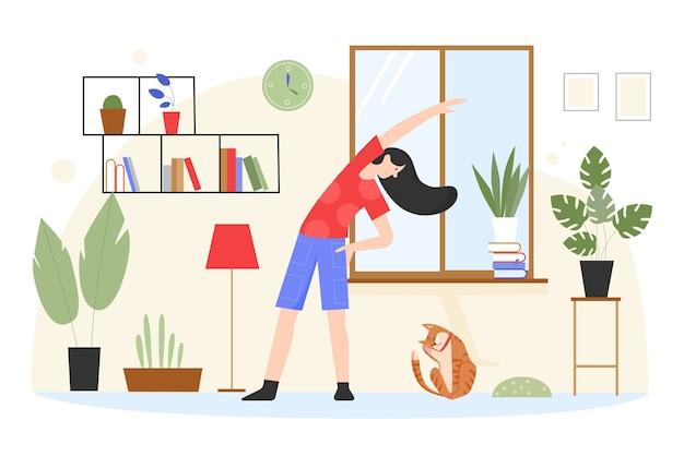 Mulher treinando, fazendo exercícios de ioga na ilustração em casa.