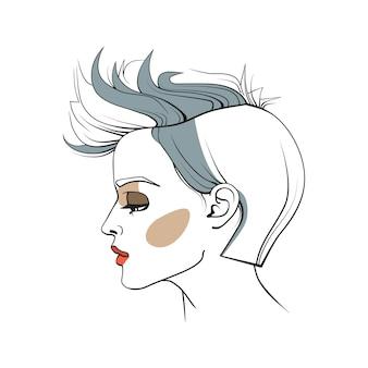 Mulher, trendy, corte cabelo