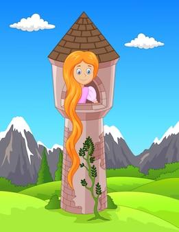 Mulher triste de rapunzel com cabelo longo que espera da janela do castelo