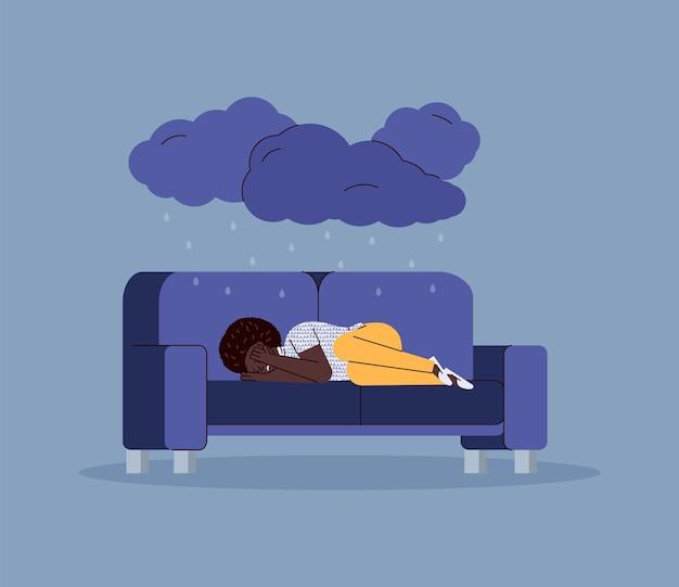 Mulher triste e infeliz deitada no sofá em ilustração vetorial plana de humor deprimido