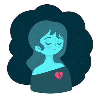 Mulher triste e solitária em depressão