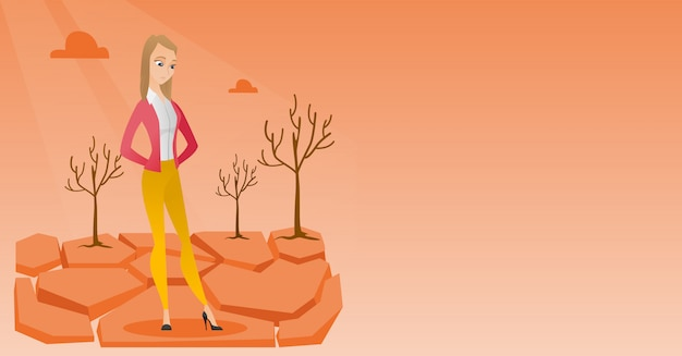 Mulher triste na ilustração do vetor do deserto.