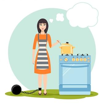 Mulher triste sonhando perto do fogão da cozinha