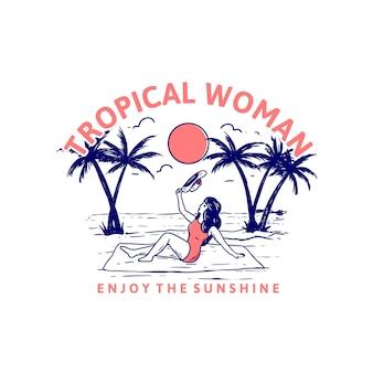 Mulher tropical aprecia a luz do sol design t-shirt praia