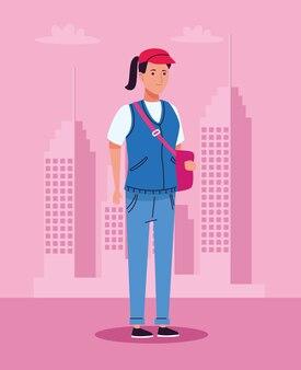 Mulher turista em pé com boné e bolsa no personagem da cidade