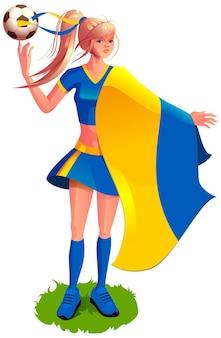 Mulher ucraniana fã de futebol com uniforme esportivo segurando bandeira