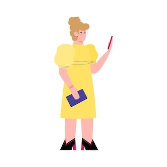 Mulher usa o telefone para ler notícias ou enviar mensagens