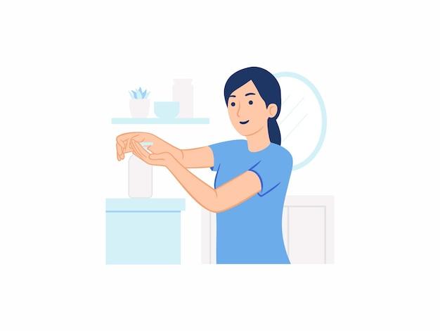 Mulher usando desinfetante para as mãos pressionando o frasco de álcool gel anti-séptico para lavar, desinfetar as mãos, higiene, prevenção, vírus, proteção, ilustração, conceito