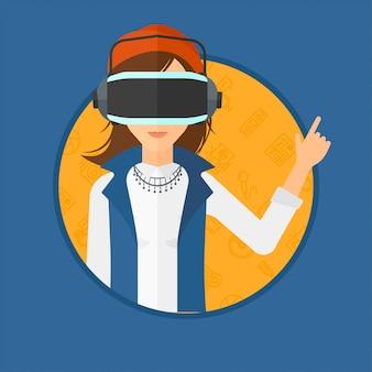 Mulher usando fone de realidade virtual.