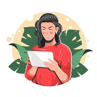 Mulher usando ilustração vetorial plana de tablet